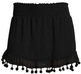 Ramy Brook Stevie Pompom Trim Mini Skirt