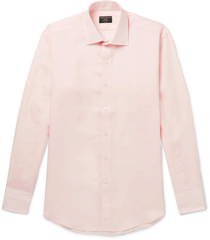 Emma Willis Slim-Fit Cutaway-Collar Linen Shirt