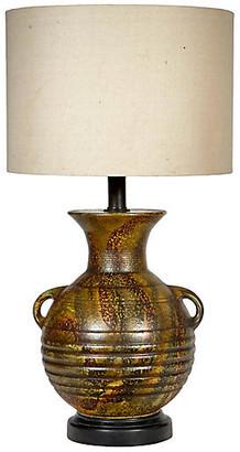 One Kings Lane Vintage 1960s Handled Green Ceramic Lamp - 2-b-Modern