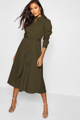 boohoo Belted Utility Midi Shirt Dress
