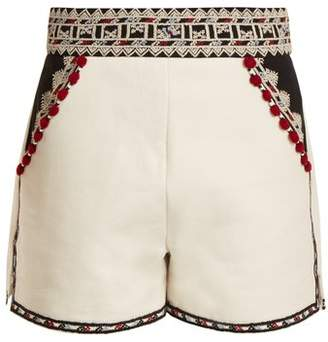 Talitha - Embroidered High Rise Cotton Twill Shorts - Womens - White Multi