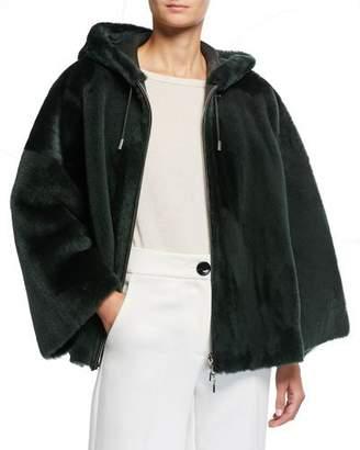 Emporio Armani Hooded Lamb Shearling Coat