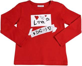 Dolce & Gabbana Love Patches Jersey Long Sleeve T-Shirt