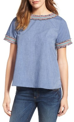 Women's Pleione Embroidered Trim Pleat Back Top $69 thestylecure.com