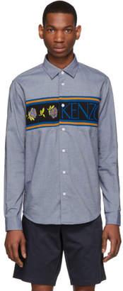 Kenzo Navy Knit Logo Casual Fit Shirt