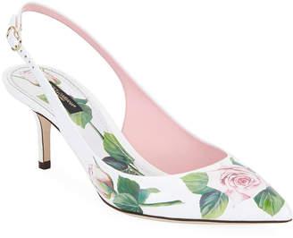 Dolce & Gabbana Floral Printed Slingback Pumps