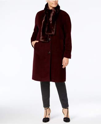 Jones New York Plus Size Walker Coat with Faux-Fur Scarf