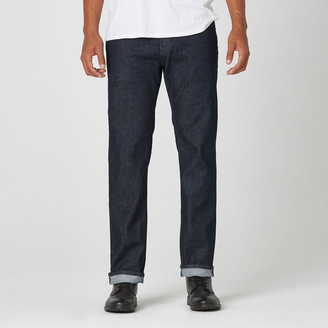 DSTLD Straight Jeans in Dark Wash Resin - Grey Stitch