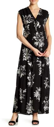 Love Stitch Floral Short Sleeve Maxi Dress