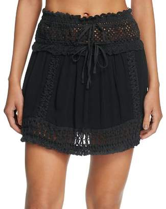 Surf Gypsy Crochet Fringe Mini Skirt Swim Cover-Up