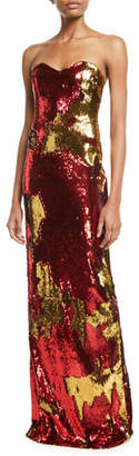 Naeem Khan NK32 Strapless Sequin Flocked Gown