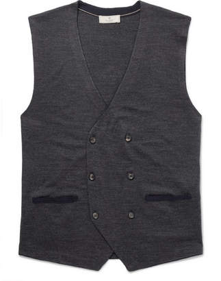 Hackett Double-Breasted Merino Wool And Silk-Blend Vest