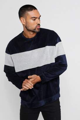 boohoo Oversized Sweater With Towelling Colour Block