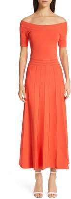 Lela Rose Pointelle Knit Off the Shoulder Dress