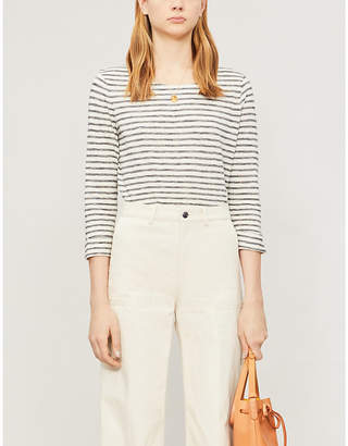 The White Company Striped long-sleeved cotton top