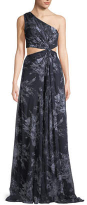 Cinq à Sept Goldie One-Shoulder Floral-Print Silk Open-Waist Gown