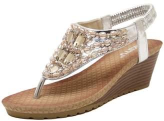333d30d9bb AVENBER Women Boho Wedge Sandals Rhinestone Beads T-Strap Platform Heel  Anti-Skid Shoes