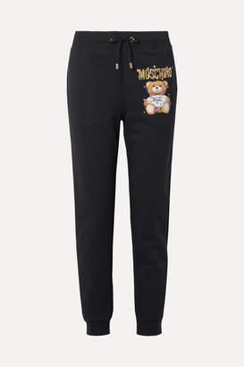 Moschino Teddy Lights Printed Cotton-fleece Track Pants - Black