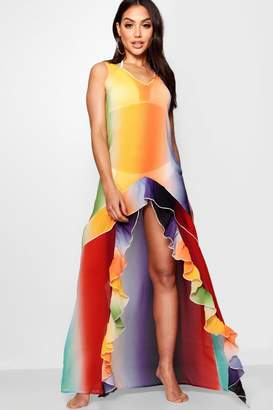 boohoo Rainbow Cut Out Beach Maxi Dress