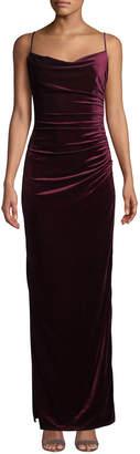 Laundry by Shelli Segal Ruched Velvet Sleeveless Slip Dress