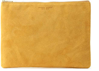 Arenot (アーノット) - アーノット スエード フラットポーチ L イエロー(SUEDE FLAT POUCH L yellow)