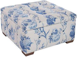 Canon Storage Ottoman - Blue Floral Linen - Mark D. Sikes