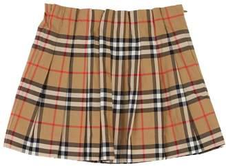 Burberry Pleated Check Cotton Poplin Skirt