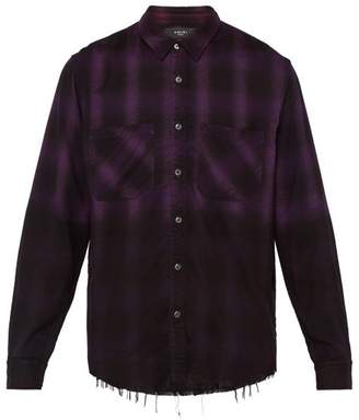 Amiri Forever AppliquA Ombre Checked Cotton Shirt - Mens - Black Purple