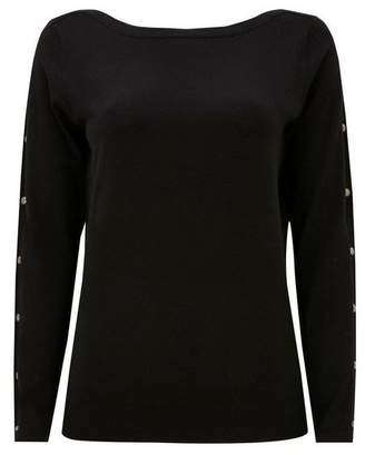 Wallis Black Stud Sleeve Detail Jumper