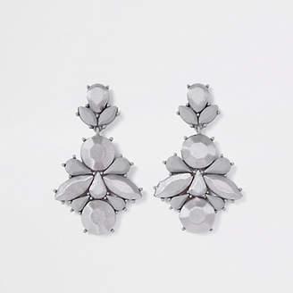 River Island Womens Grey satin jewel drop earrings