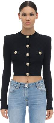 Balmain CROPPED VISCOSE BLEND KNIT JACKET