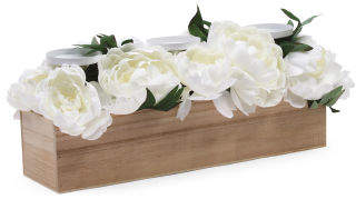 19in Faux Peony Candle Holder In Wood Box