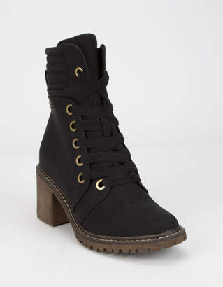 Roxy Eddy Heeled Lace-Up Black Womens Lug Boots
