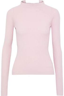 Autumn Cashmere Tie-Back Ribbed Wool-Blend Sweater