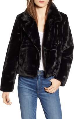Leila APPARIS Faux Fur Moto Jacket