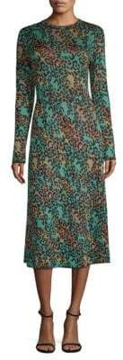 M Missoni Abito Leopard Print Lurex Midi Dress