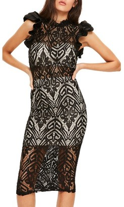 Women's Missguided High Neck Lace Midi Dress $123 thestylecure.com