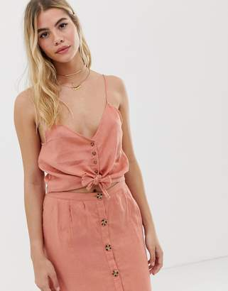 rhythm Amalfi linen button front tie top in desert pink