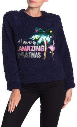Planet Gold Christmas Faux Shearling Pullover Sweater