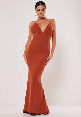 Missguided Rust Pleated Bust Fishtail Maxi Dress