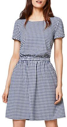 Esprit Gingham Short-Sleeve Tie-Back Dress
