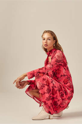C/Meo Collective VARIATION LONG SLEEVE MIDI DRESS hot pink rose