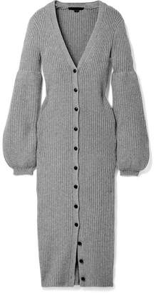 Ribbed-knit Cardigan - Gray