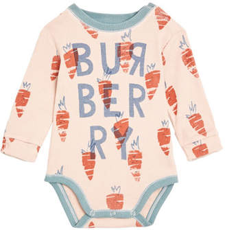 Burberry Beval Carrot-Print Bodysuit, Size 3-18 Months