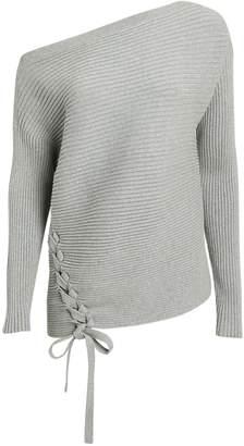 Designers Remix Off Shoulder Lace-Up Sweater