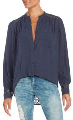 Free People The Best Eyelet Inset Button Down Shirt
