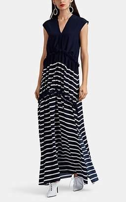 Sies Marjan Women's Hettie Striped Silk Crêpe De Chine Maxi Dress - Navy