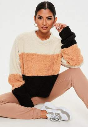 Missguided Camel Color Block Teddy Cropped Sweatshirt