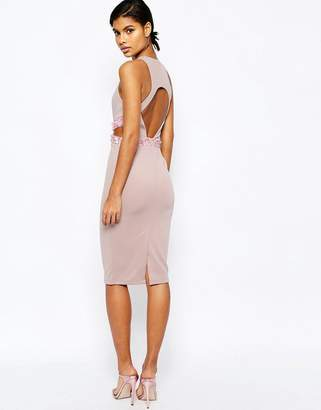 ASOS Embellished Waist Open Back Scuba Midi Bodycon Dress $89 thestylecure.com