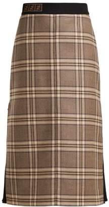 Fendi - High Rise Checked Wool Midi Skirt - Womens - Grey Multi
